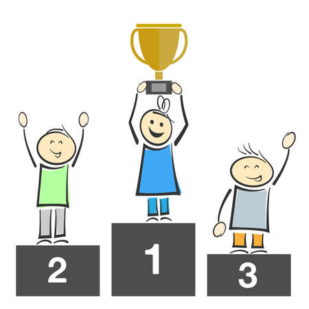 smiling stick figures on winners podium, one holding trophy vector illustration