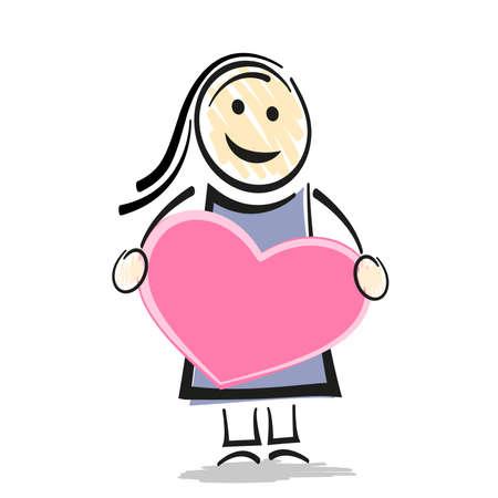female stick figure character holding big pink heart vector illustration