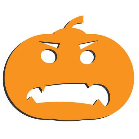 halloween jack-o-lantern pumpkin isolated on white vector illustration