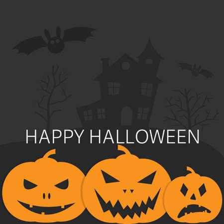 spooky happy halloween card with jack-o-lantern pumpkins and bat on dark background vector illustration