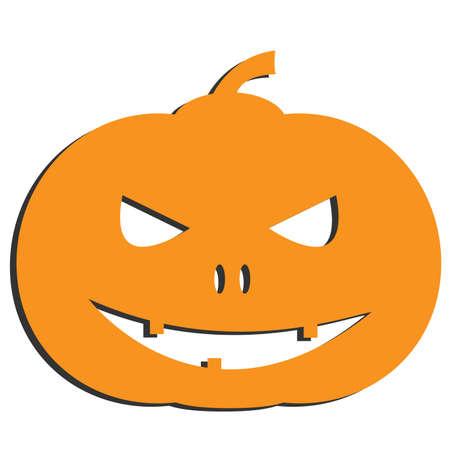 spooky halloween jack-o-lantern pumpkin isolated on white vector illustration