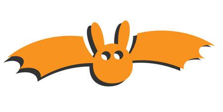 orange halloween bat isolated on white vector illustration