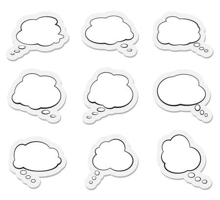set of comic speech bubbles or thought balloons vector illustration