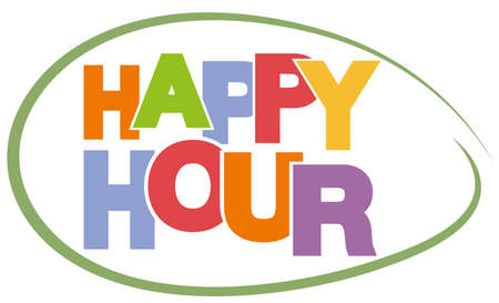 colorful text HAPPY HOUR on white background vector illustration