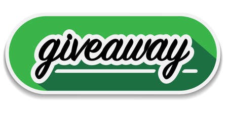 green rounded giveaway badge or sticker with shadow vector illustration