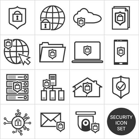 different black and white technology security icons, security icon set vector illustration  イラスト・ベクター素材