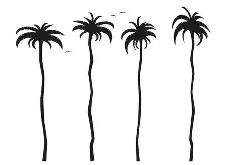 simple flat black and white tall palm trees icon vector illustration