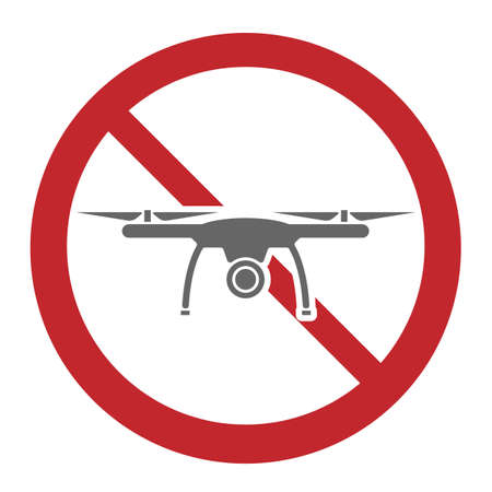 drones not allowed, drone prohibition sign or icon vector illustration  イラスト・ベクター素材