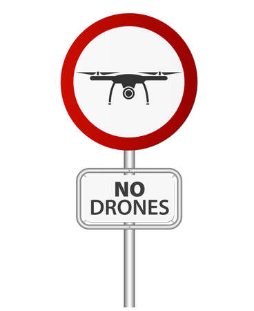 round red and white drone prohibition sign on pole vector illustration