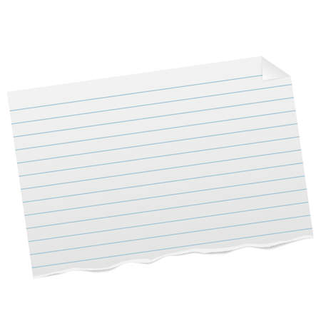 torn piece of ruled paper with folded corner and shadow vector illustration
