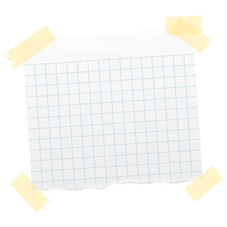 torn piece of quad-ruled paper with transparent sticky tape at corners and shadow vector illustration