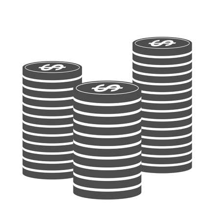 stacks of coins, black and white money icon vector illustration  イラスト・ベクター素材