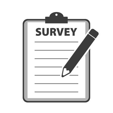 simple flat survey icon with clipboard and pencil vector illustration