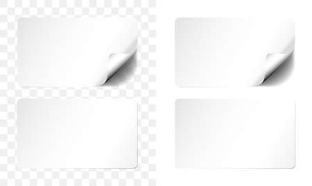 white adhesive label or sticher in two variations, one with curled up corner and transparent shadow vector illustration  イラスト・ベクター素材