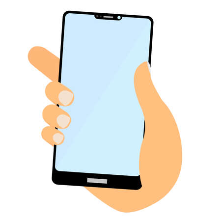 hand holding smart phone with empty touchscreen display vector illustration