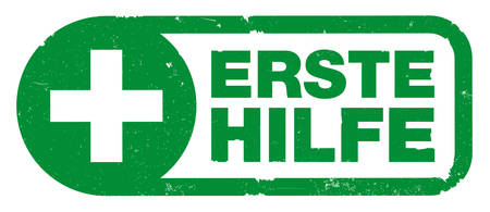 green ERSTE HILFE, German for FIRST AID, rubber stamp print with cross symbol