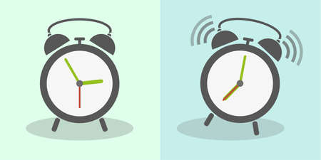 classic alarm clock, two variations, vector illustration  イラスト・ベクター素材