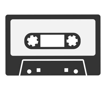 simple flat black and white audio cassette icon or symbol vector illustration
