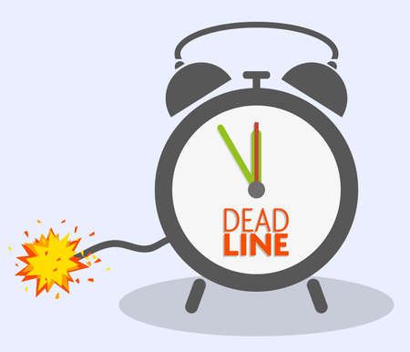 deadline concept with blasting fuse on classic alarm clock vector illustration 写真素材 - 133629140