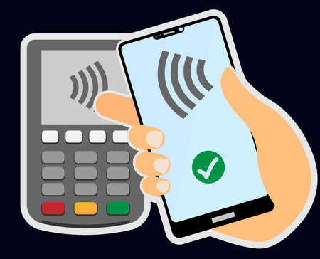 contactless payment concept with hand holding smartphone against wireless payment terminal vector illustration  イラスト・ベクター素材