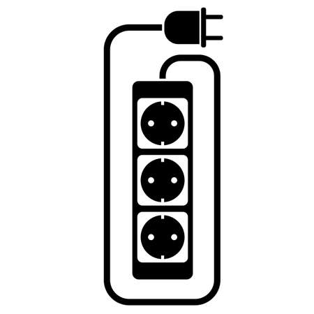 simple flat black and white electric extension cord or extension cable icon with power strip vector illustration