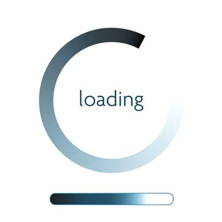 blue round progress indicator on website or mobile app vector illustration