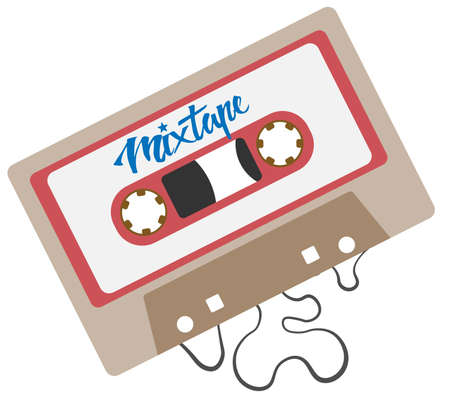 flat grey audio cassette symbol or icon vector illustration  イラスト・ベクター素材