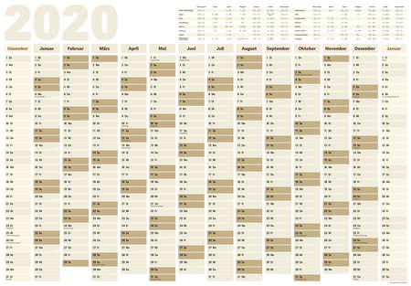 planificateur ou calendrier mural pour l'année 2020 avec les jours fériés allemands et les dates de vacances scolaires pour tous les États fédéraux allemands