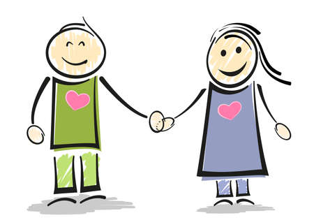 smiling stick figure couple holding hands vector illustration 写真素材 - 133065450
