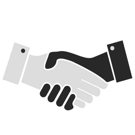 simple flat grey handshake icon or symbol vector illustration  イラスト・ベクター素材