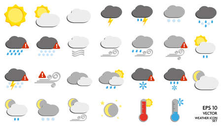 large flat weather symbol or icon set vector illustration