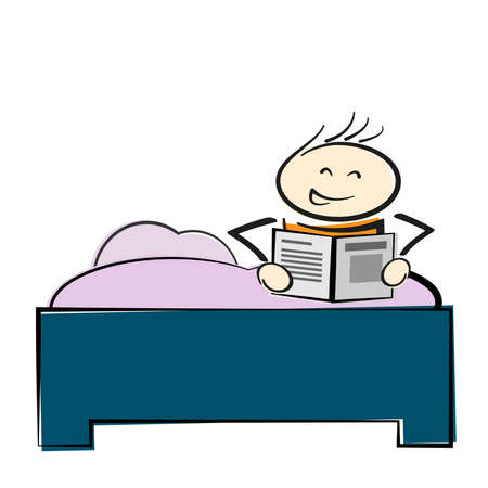 stickman character sitting in bed reading a book or newspaper vector illustration
