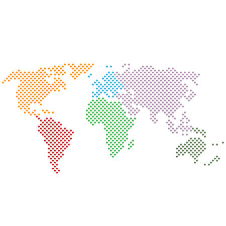 simple abstract dotted black and white world map icon with continents in different colors vector illustration