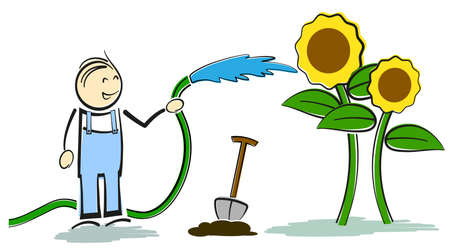 smiling amateur gardener stickman watering plants with garden hose vector illustration  イラスト・ベクター素材