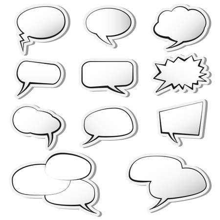set of comic speech bubble or speech balloons on white background vector illustration  イラスト・ベクター素材