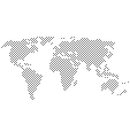simple abstract pixelated black and white world map icon vector illustration