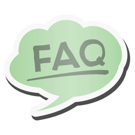 FAQ in green colored comic speech bubble vector illustration