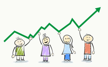 smiling stickman characters holding upward sloping curve, business success concept vector illustration  イラスト・ベクター素材