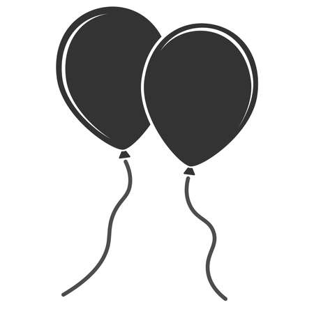 simple flat black and white balloon icon vector illustration  イラスト・ベクター素材
