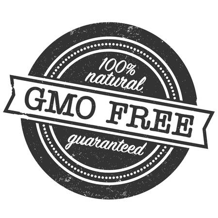 GMO free guaranteed 100 percent natural label or rubber stamp print vector illustration