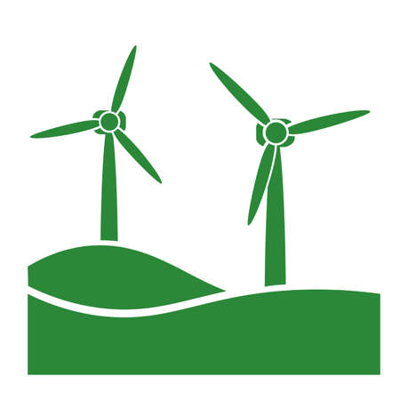 wind turbine, green eco friendly power generation icon vector illustration  イラスト・ベクター素材