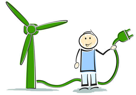 stickman character standing next to wind turbine, green renewable energy concept vector illustration