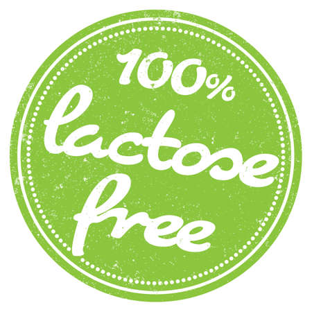 round grungy 100 percent lactose free rubber stamp print vector illustration
