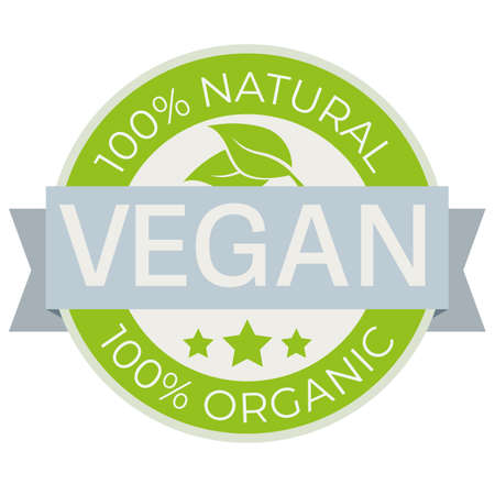 vegan food label with text 100 percent natural and organic vector illustration  イラスト・ベクター素材