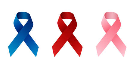 set of awareness ribbons isolated on white vector illustration