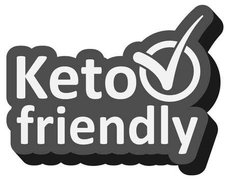 keto friendly sticker or label vector illustration, ketogenic diet concept vector illustration