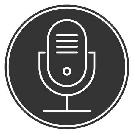 round audio recording microphone icon, podcasting symbol vector illustration