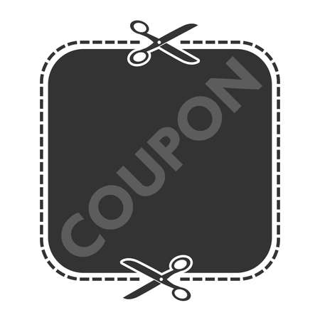 cutout coupon template with dashed or dotted line and scissors symbol vector illustration