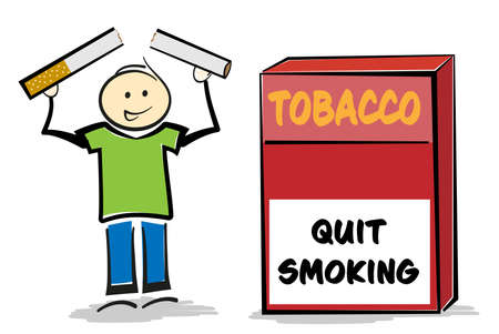 smiling stickman person breaking cigarette with both hands, quit smoking concept vector illustration Archivio Fotografico - 139037908