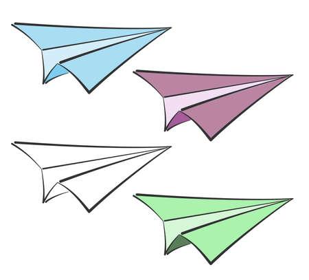 paper plane icon set, paper airplane doodle vector illustration